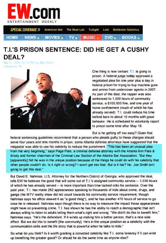 Page Pate provides expert commentary on T.I.'s sentencing for federal gun charges in Atlanta